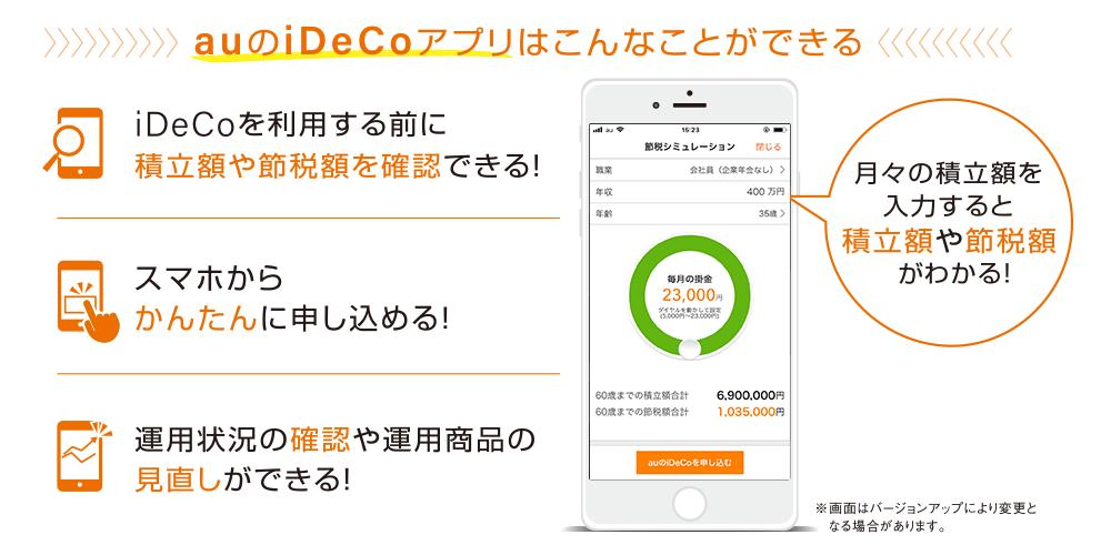 auのiDeCoアプリではiDeCoを利用する前に節税額や積立額が確認でき、スマホで簡単に加入可能。運用情報の確認や運用商品の見直しもiDeCoアプリが便利です